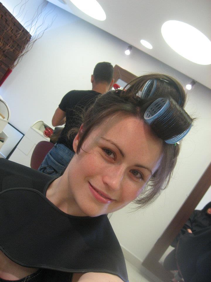 hairdresser curlers bridesmaid beauty hair