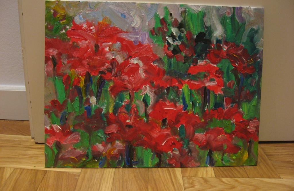 poppy field red flowers art painting