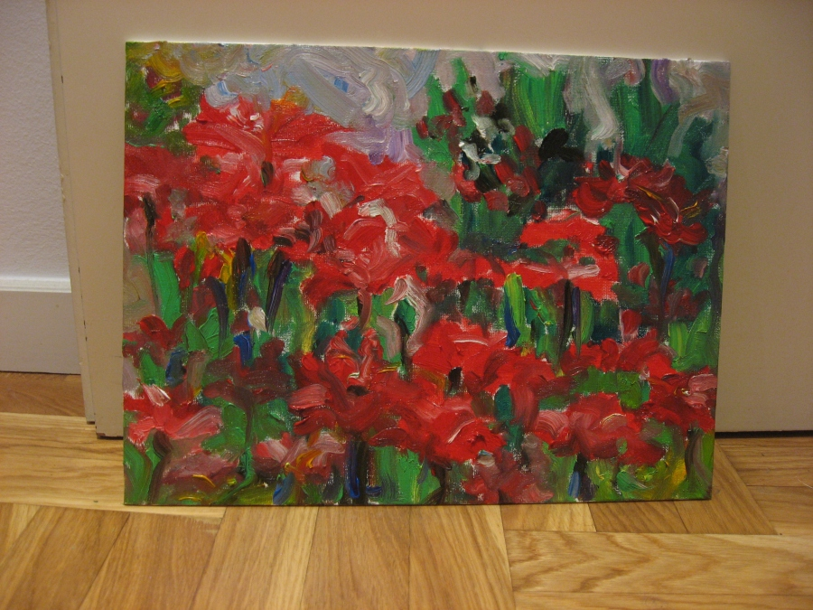poppy field red flowers art painting