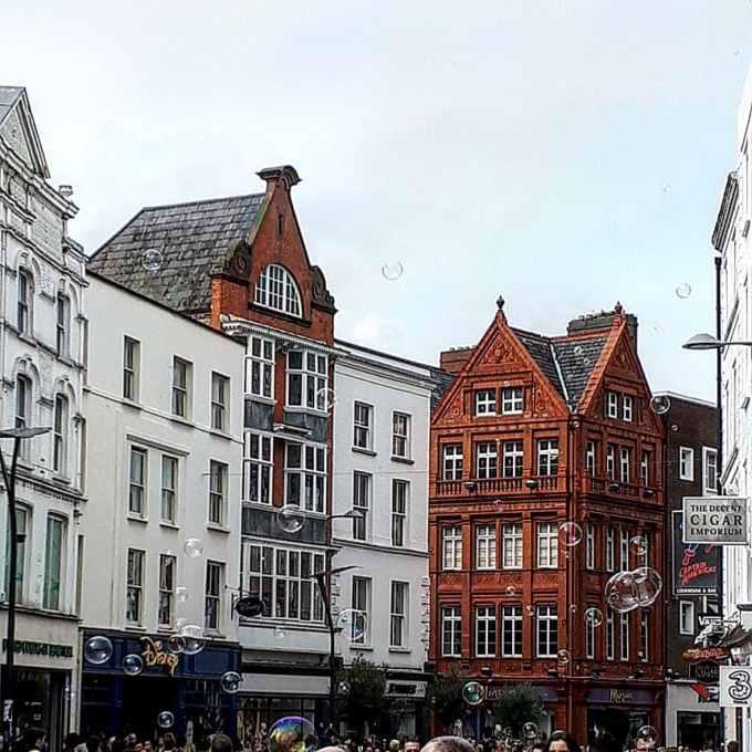 Grafton street Dublin Ireland buildings bubbles city centre sightseeing